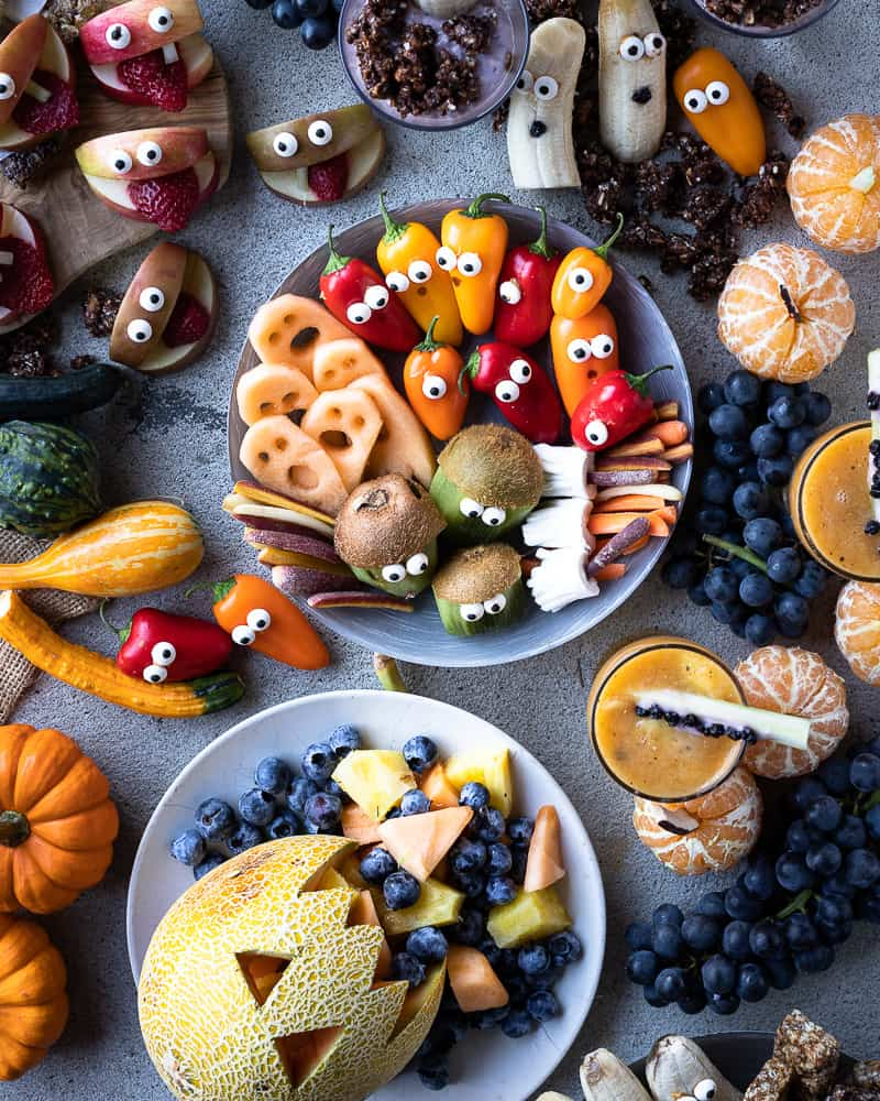 Healthy Halloween snack ideas full of fresh fruit and veggies