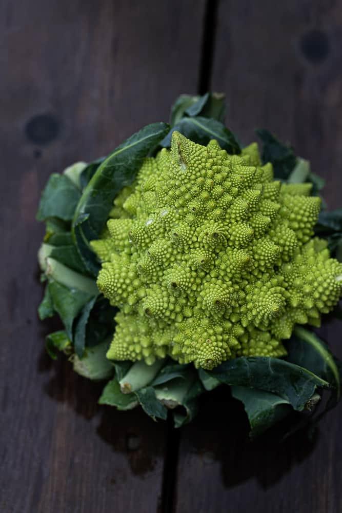 Close up of a raw romanesco cauliflower
