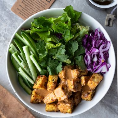 Bowl of peanut tofu and fresh veggies