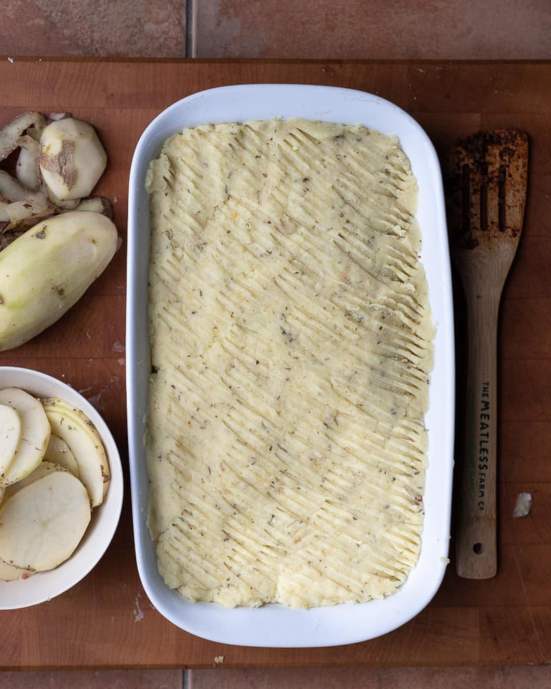 Easy Shepherds pie in a baking dish about to be baked