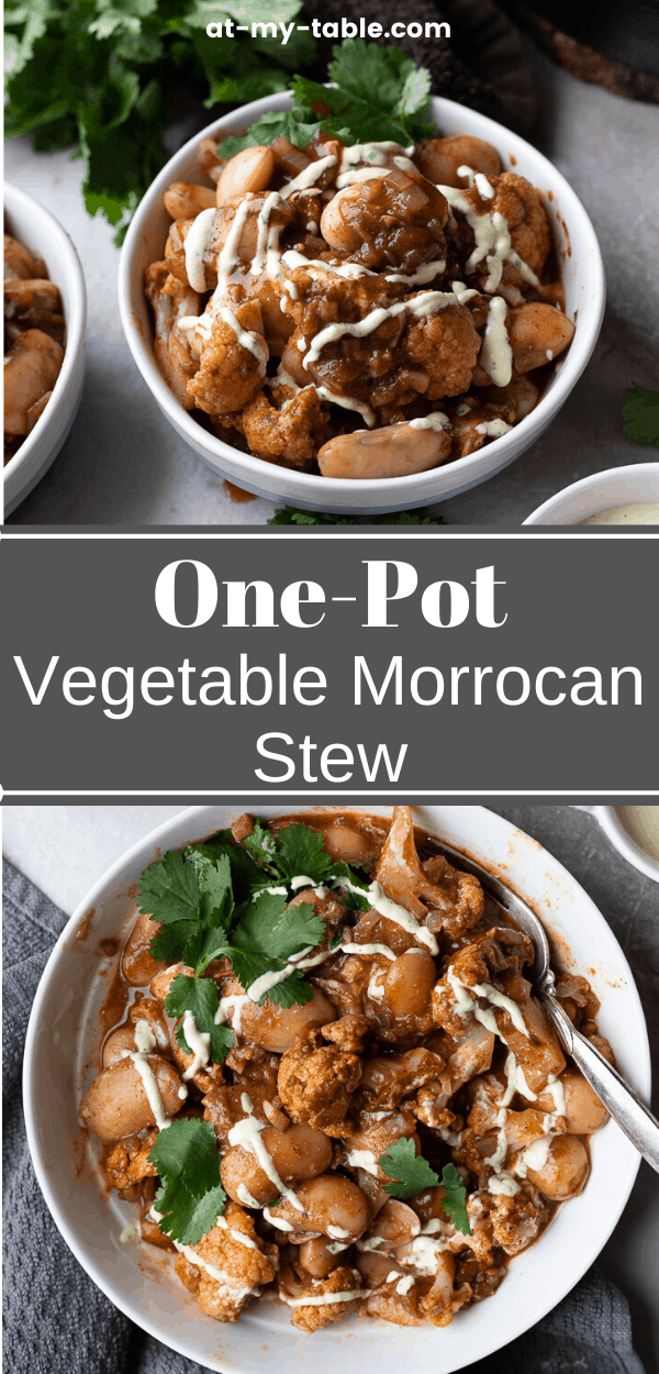 Pin of a one-pot vegetarian moroccan stew, easy vegan dinner recipe