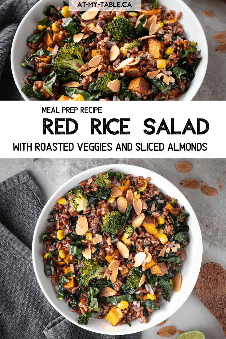 Red Rice and Roased Veggies recipe text with photos of the salad in a white bowl