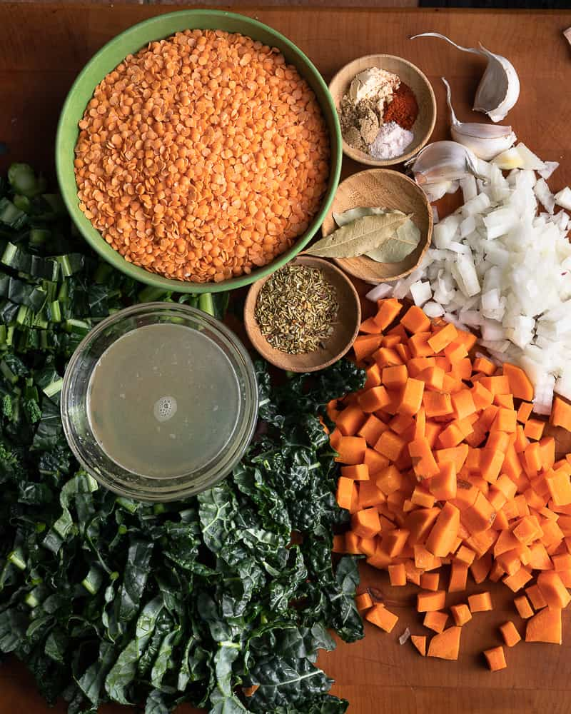 Prep shot of the ingredients for lemony red lentil soup made in the instant pot