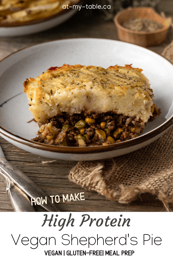 Straight on shot of a slice of vegan Shepherd's pie made on a white plate with text overlay