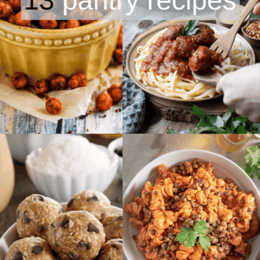 roundup photo of 13 easy vegan pantry recipes made with 10 ingredients or less