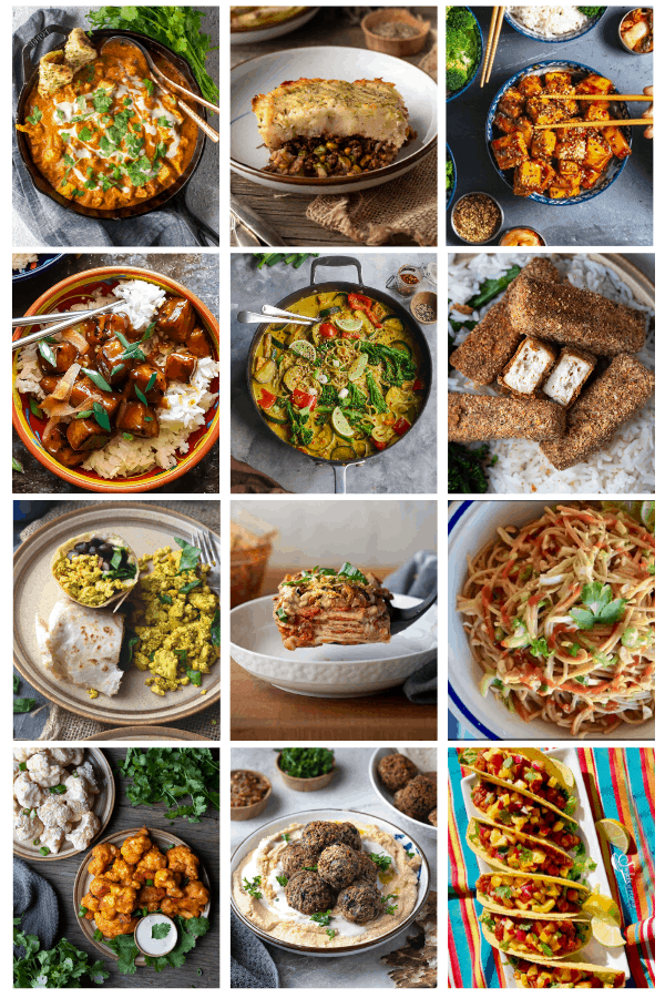 A grid of photos of easy vegan recipes that are also gluten free