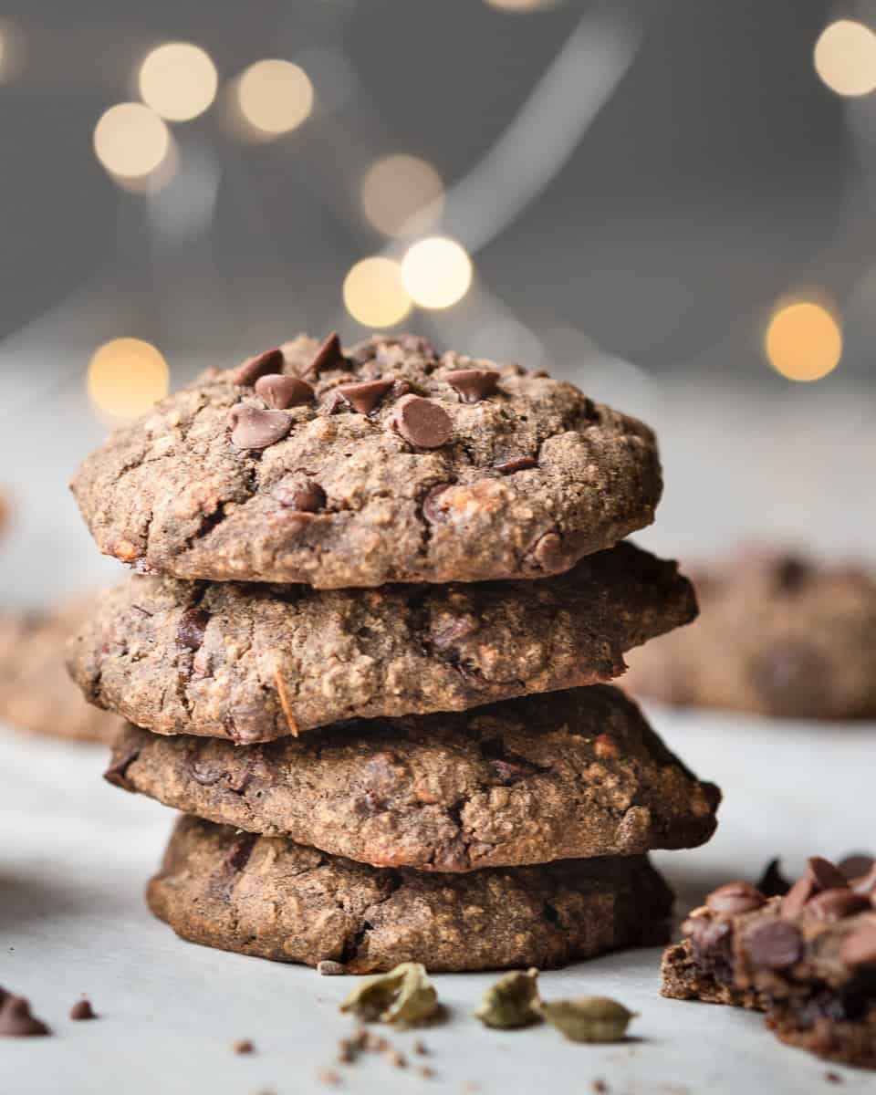 Stack of easy gluten free cardamom tangerine spice cookies