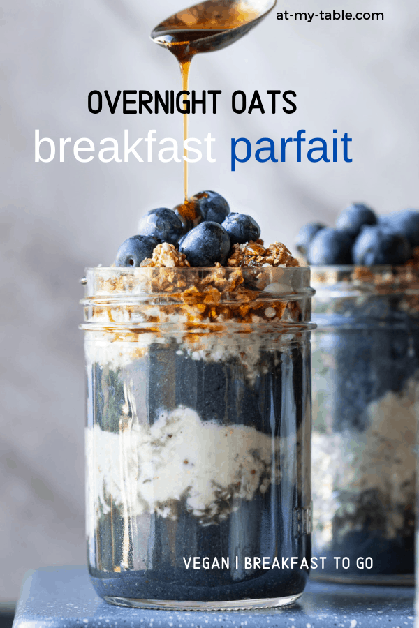 Overnight oats in a mason jar being drizzled with maple syrup. a healthy overnight oat breakfast parfait with text overlay