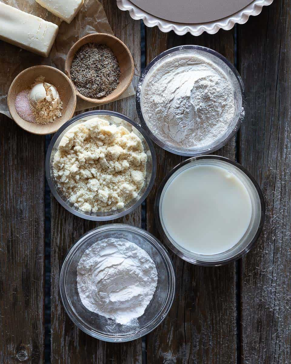 Preparation shot of ingredients to make a gluten free quiche pie crust with almond flour