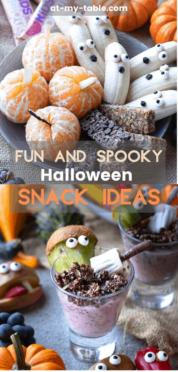 Angled shot of Halloween snack ideas for kids that are fun and easy to make